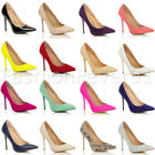 WOMENS LADIES HIGH HEEL POINTED SMART BASIC PARTY COURT WORK PUMPS SHOES SIZE