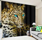 Blue Eyes Leopard 3D Blockout Photo Mural Printing Curtains Draps Fabric Window