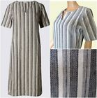 New Ex M&S Ladies Grey & White Striped Linen Mix Casual Summer Dress Size 6- 16