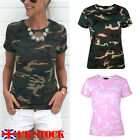 UK STOCK Womens Camouflage Shirts Ladies Short Sleeve Casual Tops T-Shirt Blouse