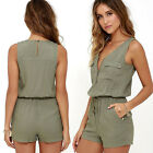 Rompers women jumpsuit 2017 NEW lady summer loose zipper pockets green bodysuit