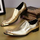 Mens Leather Metal Pointy Toe Wedding Dress Boot Shoes Plus Size Night Club Chic