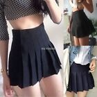 Sexy Women's High Waisted Solid Pleated Mini Tennis Skater Skirt SH01