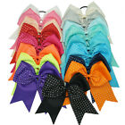 "8"" Baby Grils Large Grosgrain Ribbon Rhinestone Ponytail Cheer Bow Elastic Band"
