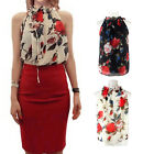 Women Chiffon Sleeveless High Ruffled Neck Floral Pleated Tops Blouse Shirt CAHF