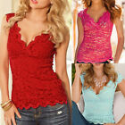 Women Summer Blouse V-Neck Lace Casual Sleeveless Vest Shirt Tank Tops T-shirt F