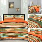 Waves Bright Colour Multi Stripe Quilt Duvet Cover Pillow Case Bedding Set
