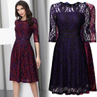 Women's Vintage Floral Lace Cocktail Party Sexy Casual Business Swing Knee Dress