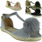 Womens Ladies Girls T-Bar Fur Pom Pom Espadrilles Shoes Peeptoe Sandals Flats