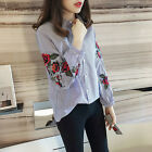 Women Long Sleeve Blouse Floral Embroidered Shirt Striped Casual Shirt Tops