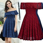 Women's Retro 1950s Cocktail Sexy Dress Formal Lace Evening Party Swing Dresses
