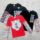 Fashion Kids Baby Boys Girls Toddlers INS tattoo Long Sleeve Tops Casual Shirts