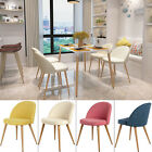 4 Pcs Fabric Seat Pad Dining Chairs Metal Leg Lounge Chai...