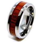 8mm Wood Grain Inlay Tungsten Carbide Wedding Ring Sizes 4-16