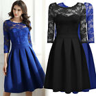Women Floral Lace Business Cocktail Prom Wedding Evening Party Pleated Dresses