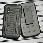 Shockproof Heavy Duty Armor Rugged Hybrid Rubber Stand Hard Case Cover + Holster