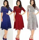 Womens Lace Dress Ladies Lined Bodycon Wedding Evening Party Cocktail Maxi Dress