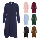 Womens Ladies Summer Long Midi Shirt Abaya Maxi Top Casual Outdoor Wear