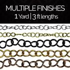 Solid Brass S-Shaped Links Chandelier Lighting Chain #13 | (1 yard or 3 ft)