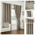 Ready Made Taupe Curtains Waffle Effect Design Ring Top Eyelet Lined Sizes Pair