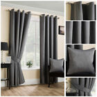 Ready Made Black Satin Textured Soft Curtains Ring Top Eyelet Living Sizes