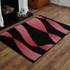 MODERN MEDIUM LARGE EXTRA LARGE BLACK RED TWIST PATTERN RUG CHEAP SOFT AREA RUGS