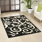 MEDIUM LARGE EXTRA LARGE MODERN DAMASK BLACK IVORY CARPET RUGS CLEARANCE