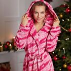 Avon Tiger Snuggle Robe Pink & White Fleece Dressing Gown ~ Size 14/16 ~ New