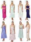 Ladies Satin Chemise Full Ankle Length Silky Nightdress Nightie Plain Cami Strap