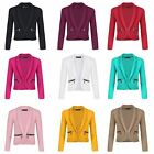 Girls Long Sleeve Open Front Zip Pocket Jacket Kids Blazer Cardigan Top 3-14 Y