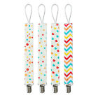 4Pcs 28cm Dummy Pacifier Clip Baby Girl Cotton Strap Nipple Leash + Metal Clips