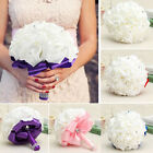 Handmade Rose Wedding Flower Bridal Bouquet Brooch Crystal Pearls Silk Flower US