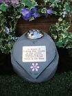 Personalised Daisy Flower Stone Memorial Heart with holder for Grave Flowers