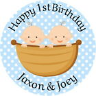 1ST BIRTHDAY TWIN  BOYS PERSONALISED GLOSS BIRTHDAY PARTY, SWEET CONE STICKERS