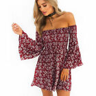 Women's Casual Off Shoulder Floral Short Dresses Beach Party Cocktail Evening ty