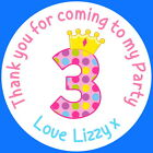 PERSONALISED GLOSS 3RD PRINCESS BIRTHDAY GIRL PARTY BAG, SWEET CONE STICKERS