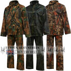 Mens Camo Waterproof Rainsuit Hooded Jacket Trouser Suit Fishing Camping Army