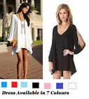 Women Assym Irregular cut Sleeve Chiffon Dress Casual V Neck Loose Party Dress