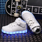 Unisex Children High Top LED Luminous USB Lights Shoes Kid Magic Tape With Lace
