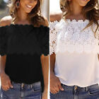 New Women's Lace Chiffon Off Shoulder Top Shirt Casual Blouse T-Shirt Size S-6XL