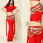 US Belly Dance Costume Velvet Gold Coin Hip Scarf Tribal Triangle Hip Belt Skirt