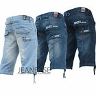 Mens Boys Enzo Denim Jean Shorts Designer Branded Summer Hem Pattern Cool King