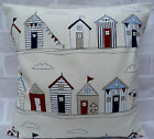 Fryetts Beach Huts Bunting Cream & Blue cushion cover - All Sizes Available