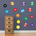 Poolballs Pool Cue Table 9 Ball American Pocket Colourful Wall Stickers New A64