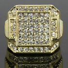Mens 14k Gold Plated Iced Out Hip Hop Style 6 Square Ring CZ Crystal Bling Pinky