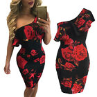 UK Women Bodycon Mini Dress Bardot Off Shoulder Floral Ladies Cocktail Size 6-16