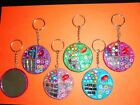 Mirror Bling Keyring 6cm Light Pink, Dark Pink, Purple, Green, Blue Glitter Gems