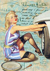 Pin Up Tire Change Collage Art Quilt Block Multi Szs FrEE ShiP WoRld WiDE (F6