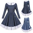 Women Vintage Style Round Neck Long Sleeve Print Patchwork Swing Dress ED01