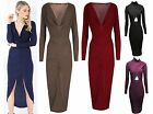 Womens Ladie Plunge Neck Front Ruched Wrap Over Midi Bodycon Party Evening Dress